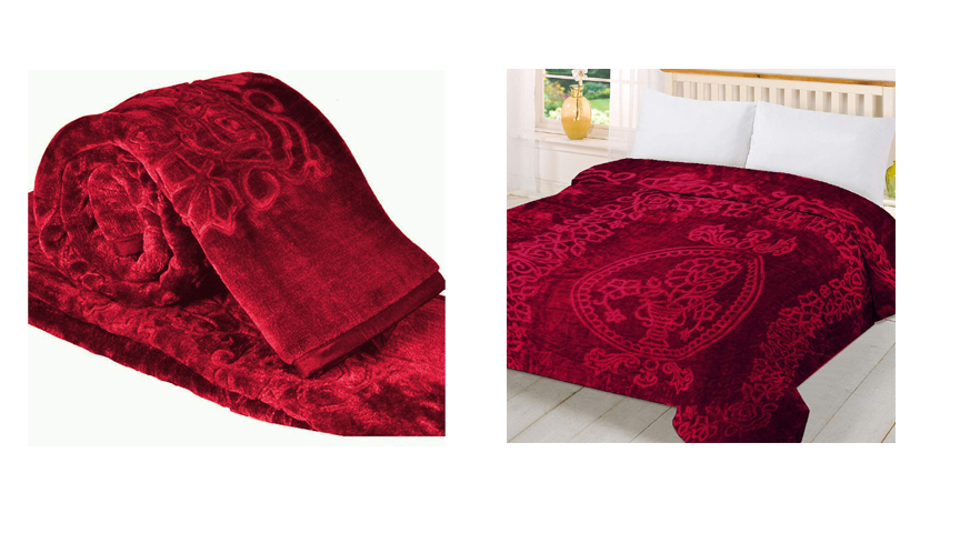 Cloth Fusion Celerrio Mink Double Bed Blanket For Winter-Maroon