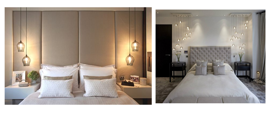 Master bedroom with two hanging pendant lamps